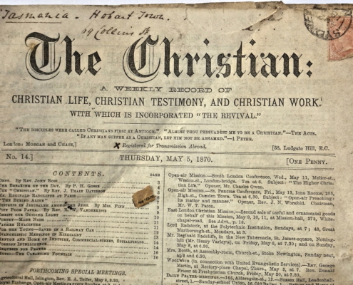 From 'The Christian', 5 May 1870