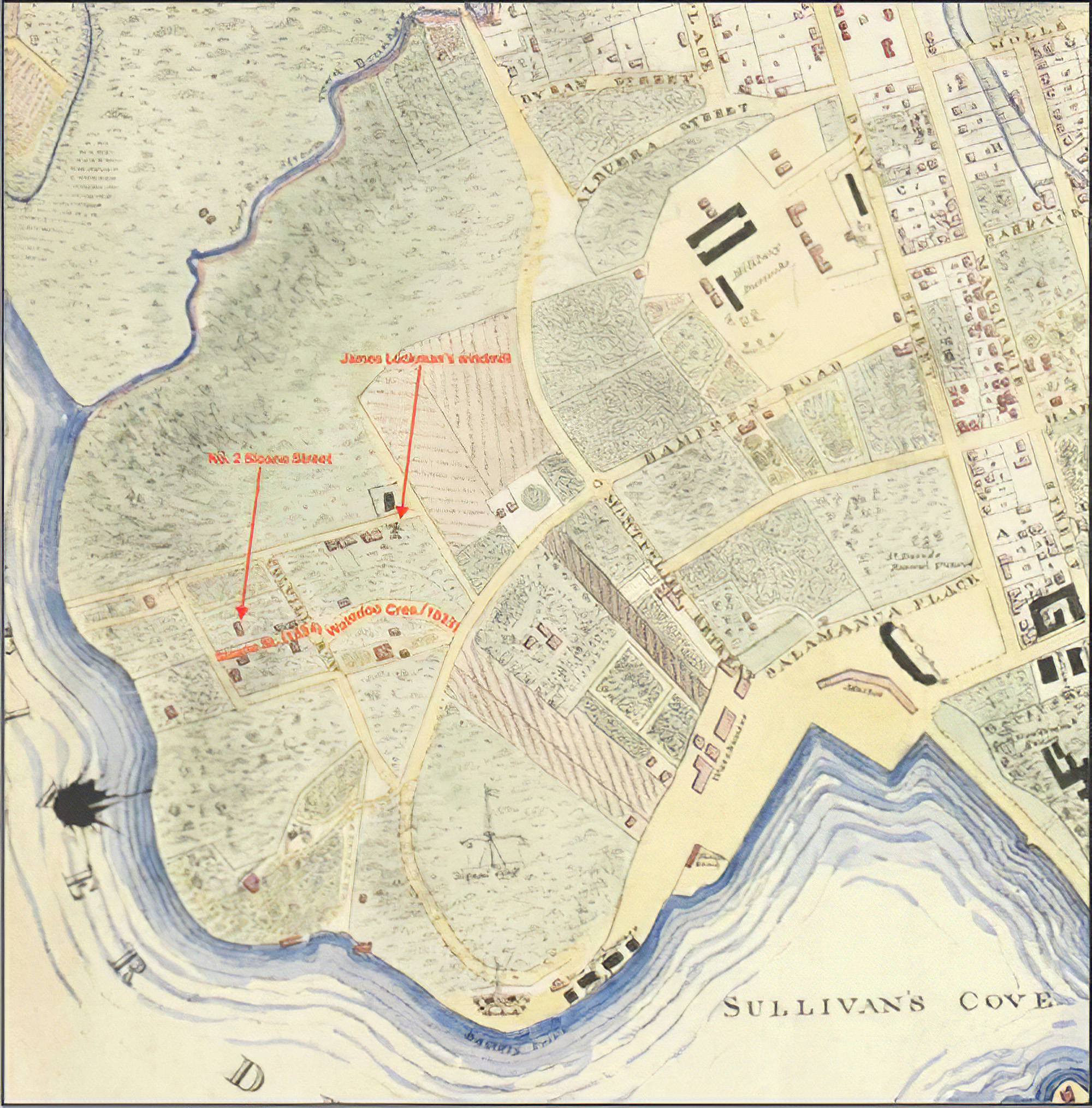 Circa 1838-39 colour rendering of George Frankland's original 1836 map