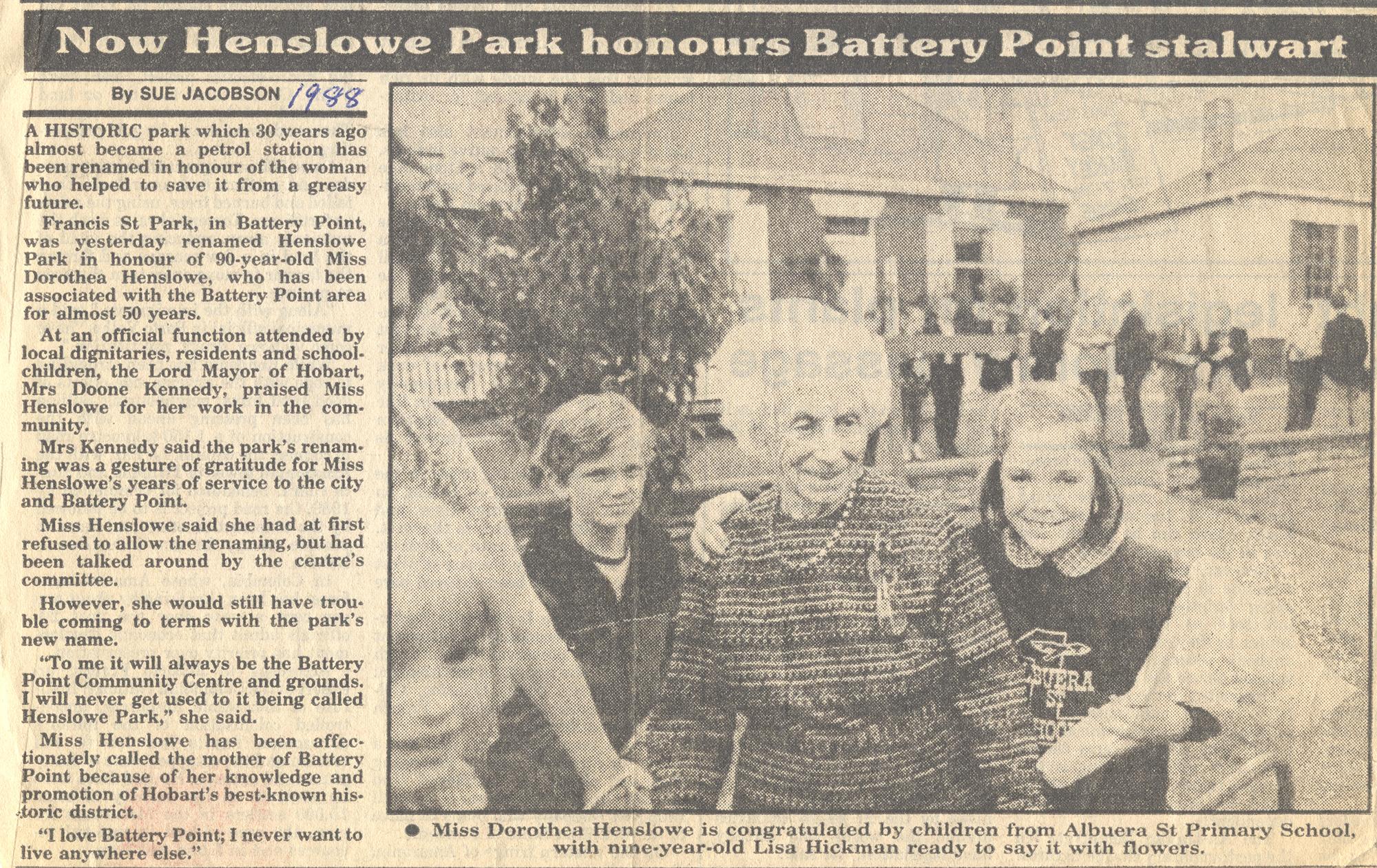 Henslowe Park named