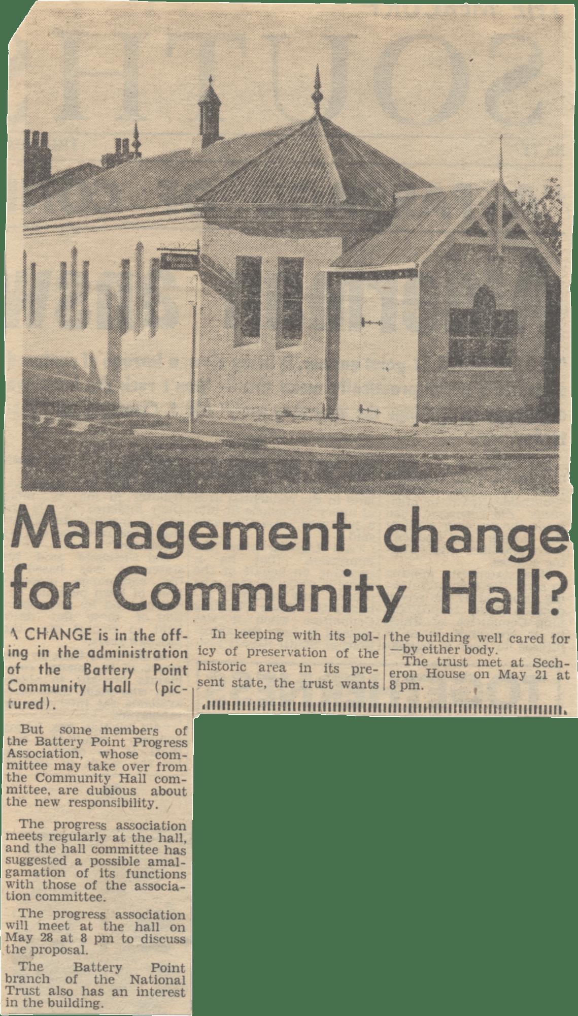 Management Change for Hall