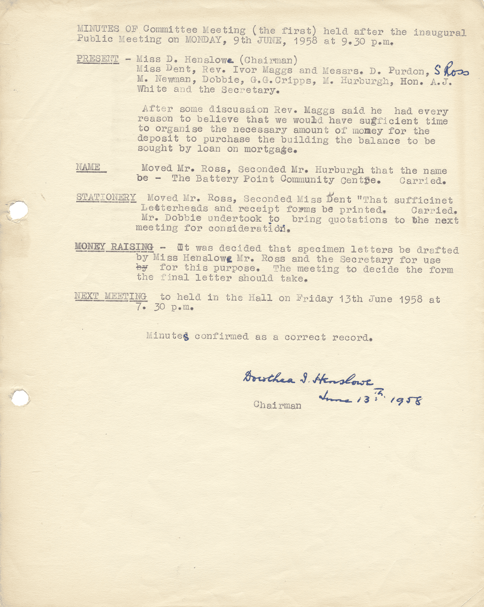Minutes of First Committee Meeting