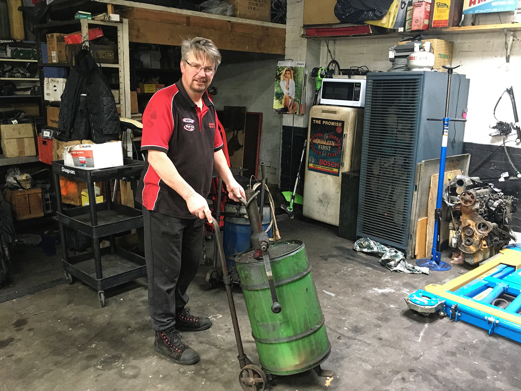 Simon in the workshop
