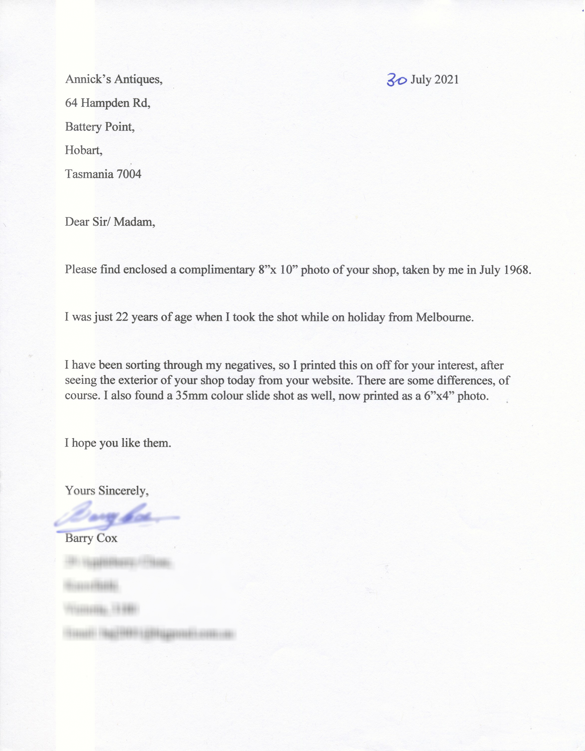 Barry Cox Letter